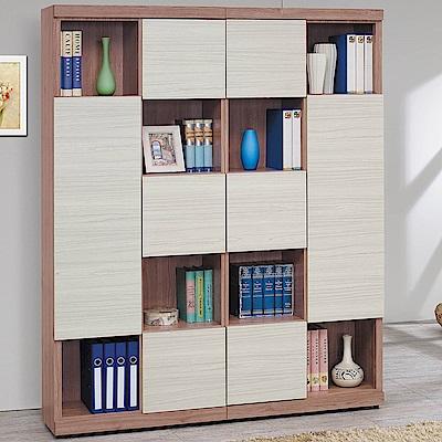 H&D 柚木雪杉白雙色書櫃組 (寬162X深32X高198cm)