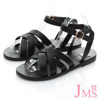 JMS-優閒度假風層次感交叉環踝平底涼鞋-黑色