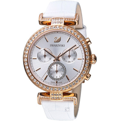 施華洛世奇SWAROVSKI ERA JOURNEY系列白潔光耀計時腕錶-白色/38mm