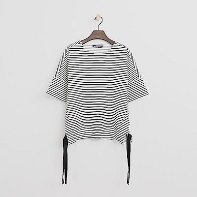 Hang Ten - 女裝 - 雙邊綁帶條紋T恤-白色