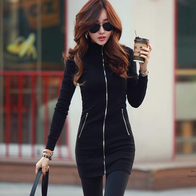 N-C21-前開拉鍊裝飾兩穿外套連身裙-黑色