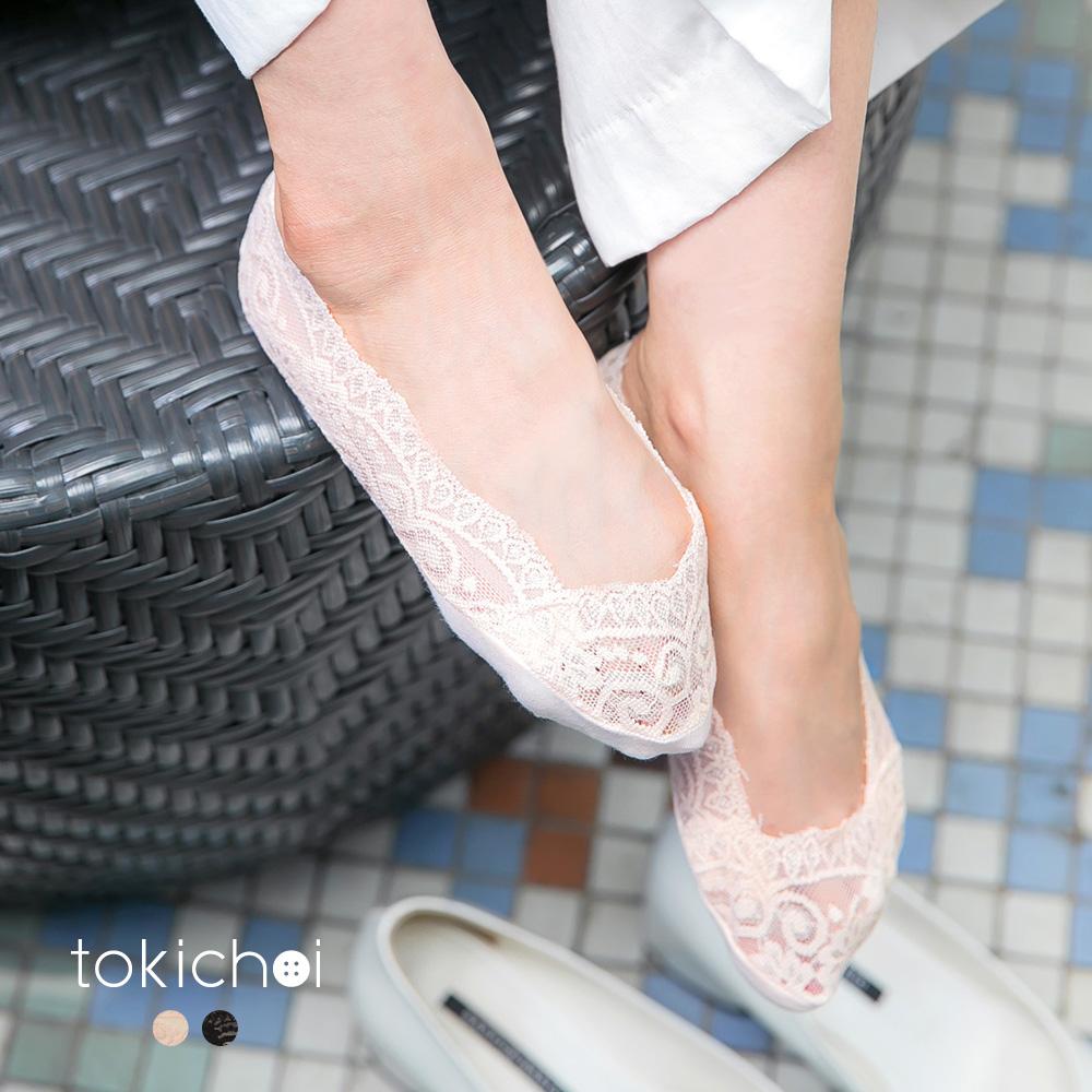 東京著衣 唯美蕾絲拼接彈性船型襪(共二色)