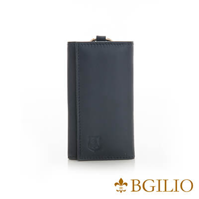 義大利BGilio-全牛皮中性鑰匙包-深藍色-1605.310A-09