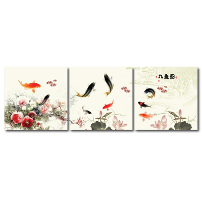 橙品油畫布- 三聯無框圖畫藝術家飾品 - 九魚圖40*40cm