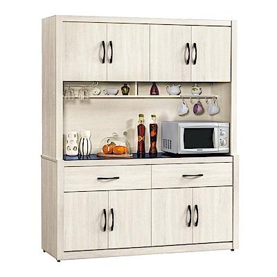 品家居 美多5.2尺橡木紋玻璃餐櫃組合-157.6x41.8x197.2cm免組