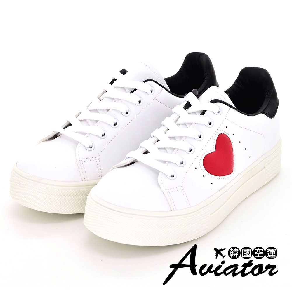 Aviator*韓國空運-正韓製唯美心型撞色拼接造型休閒鞋-白