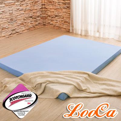 LooCa 綠能涼感護背5cm減壓床墊-雙人 搭吸濕排汗表布