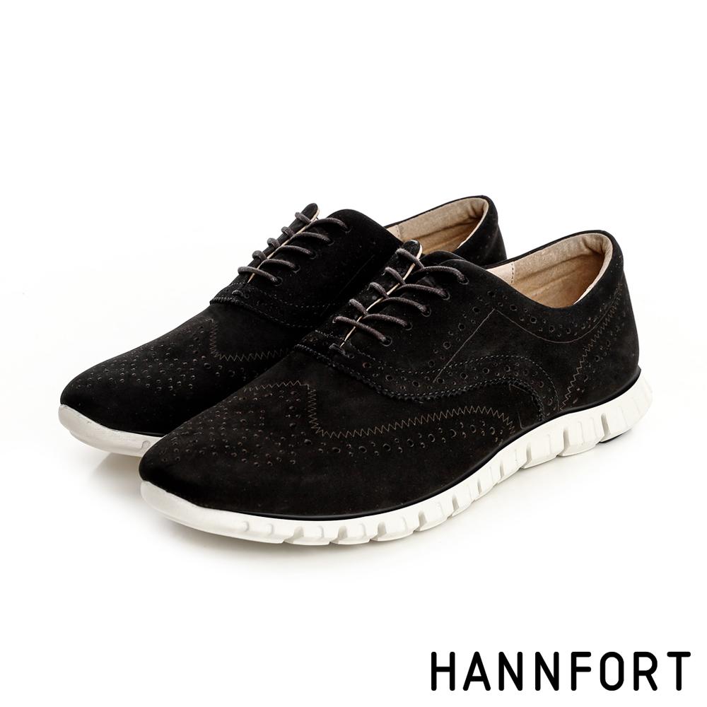 HANNFORT ZERO GRAVITY輕舞牛津翼紋雕花氣墊鞋-女-神秘黑8H
