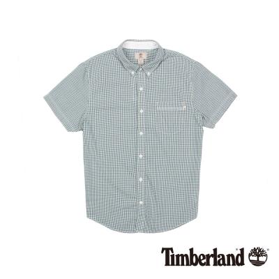 Timberland 男款藍綠細格紋修身短袖襯衫