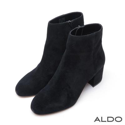 ALDO 原色麂皮尖頭拉鍊粗跟短靴~尊爵黑色