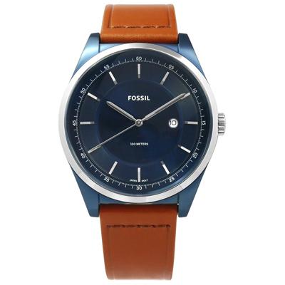 FOSSIL Mathis 復古美學紳士型男日期防水真皮手錶-藍x咖啡/44mm
