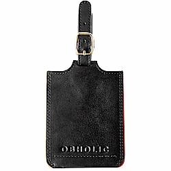 OBHOLIC 黑色牛皮行李吊牌旅行識別證套
