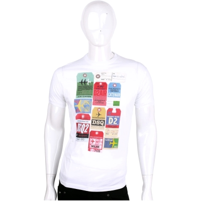 Dsquared2 白色吊牌圖案棉質短袖T恤