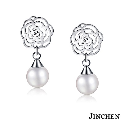 JINCHEN-白鋼薔薇珍珠耳環