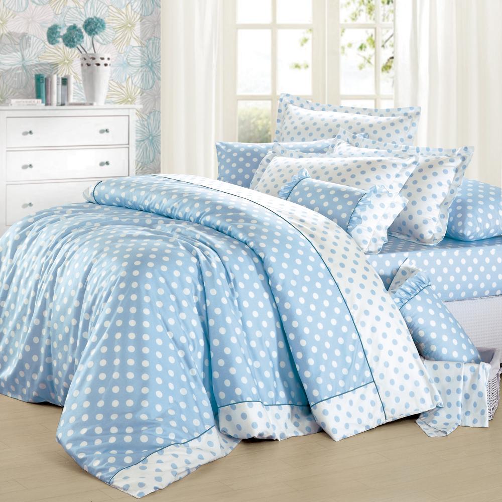 法國MONTAGUT - 甜蜜馬卡龍(藍) - 雙人加大四件式兩用被床包組