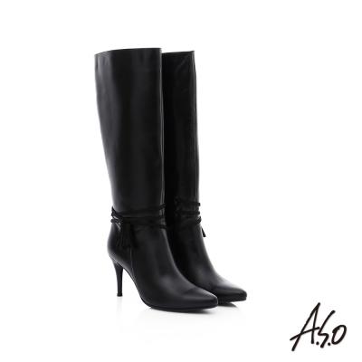 A.S.O 保暖靴 真皮流蘇綴飾細跟長靴 黑色