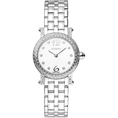 Standel 詩丹麗60週年系列真鑽女錶-珍珠貝x銀/鑲鑽/28mm
