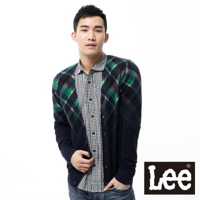 Lee-針織外套-拉克蘭袖格紋點綴-男款-深藍