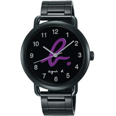 agnes b. 就愛巴黎 藝術Logo腕錶(BG8039X1)-黑x紫色字/40mm