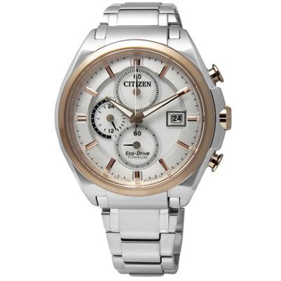 CITIZEN 勇者不敗光動能鈦金屬手錶(CA0356-55A)-銀x玫瑰金框/43mm