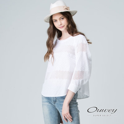 OUWEY歐薇 簡約素雅縷空拼接上衣(白)