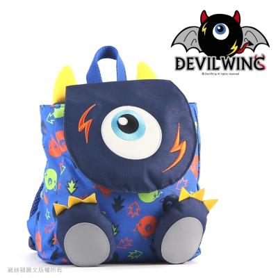 Devil Wing 小惡魔印花腳ㄚ防走失背包(書包)-藍