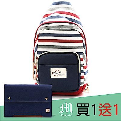 Moyoung 買1送1條紋親子系列-單肩包 繽紛紅