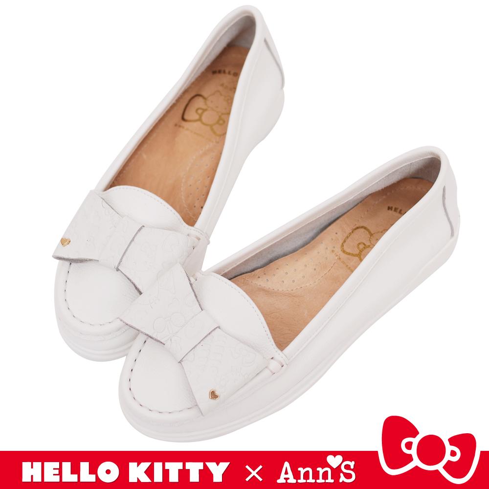 HELLO KITTY X Ann'S 牛皮蝴蝶結柔軟便鞋 白