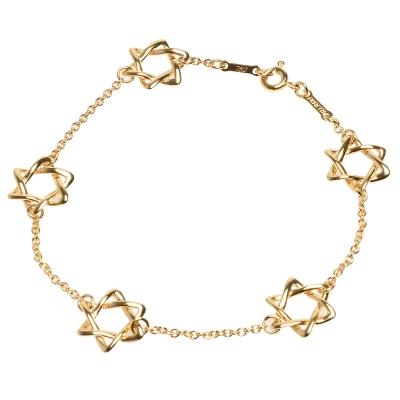 TIFFANY&Co. 經典ELSA PERETTI系列750 K金鏤空六芒星墜飾手鍊