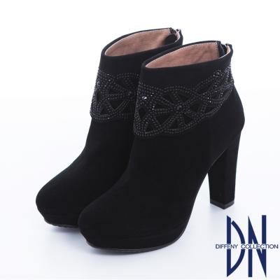 DN 摩登絢爛 高貴時尚絨皮閃鑽高跟短靴 黑