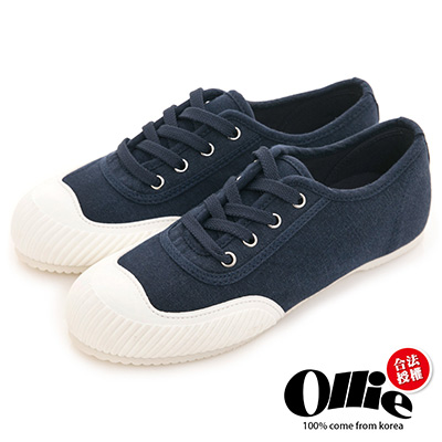Ollie韓國空運-正韓製帆布綁帶平底懶人休閒鞋