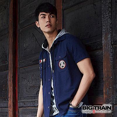 BIG TRAIN 素色貼標短袖襯衫-男-深藍