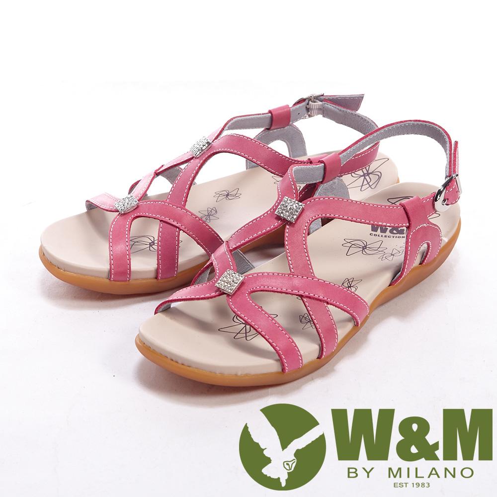 W&M 小鑽交錯設計扣環式女鞋中跟涼鞋-桃