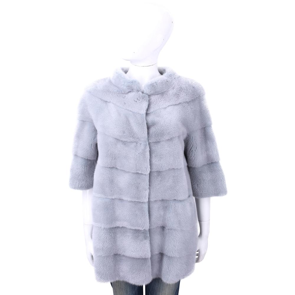 Manzoni 24 貂毛皮草漸層銀灰藍立領大衣