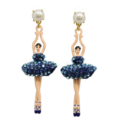 Les Nereides 優雅芭蕾舞女孩系列 珍珠寶藍色水鑽舞者耳針式耳環