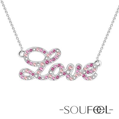 SOUFEEL索菲爾 925純銀項鍊 LOVE(粉)