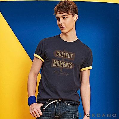 GIORDANO 男裝棉質熱愛旅行印花圓領T恤-10 標誌海軍藍