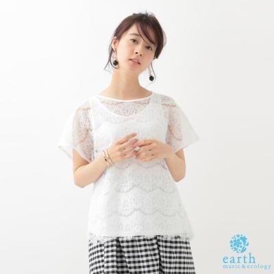 earth music SET ITEM 蕾絲透膚短袖上衣+圓領背心上衣