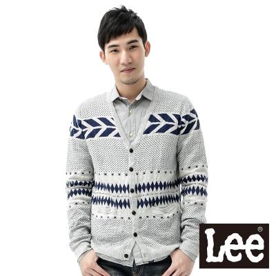 Lee-毛衣外套-V領緹花縮口開扣-男款-灰