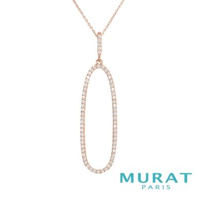 MURAT Paris米哈巴黎 精緻滿鑽橢圓長項鍊(玫瑰金)(大)
