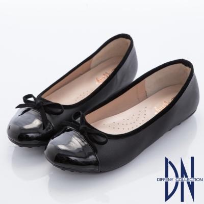 DN 甜美漫步 優雅蝴蝶結拼接平底豆豆鞋-黑