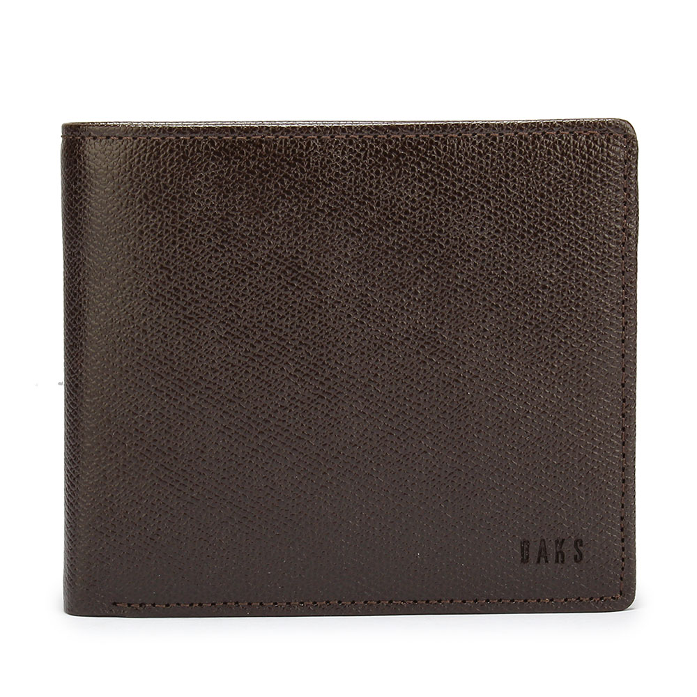 DAKS 防刮牛皮壓扣零錢袋短夾-咖啡色