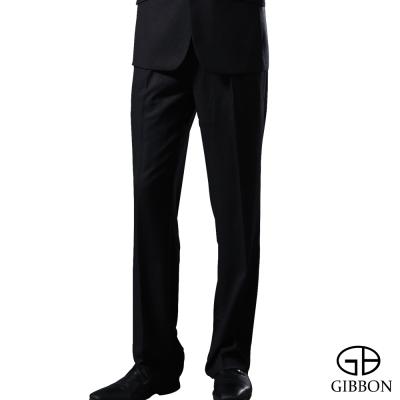 GIBBON 輕光澤星紋毛料打摺西裝褲‧黑色32~42