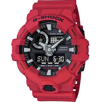 G-SHOCK 絕對強悍雙顯運動錶(GA-700-4A)-紅/53.4mm