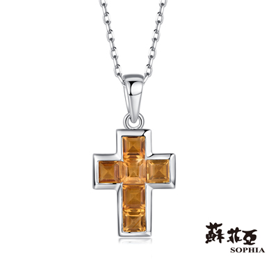 蘇菲亞SOPHIA 寶石項鍊-十字架造型黃水晶項鍊