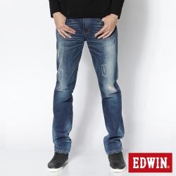 EDWIN 中直筒 503NARROW微破牛仔褲-男-石洗藍