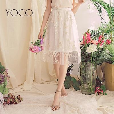 東京著衣-yoco香檳美人網紗淡金邊白花刺繡A字裙-S.M.L(共一色)