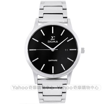 SIGMA 紳士藍寶石鏡面時尚男手錶-黑X銀/41mm