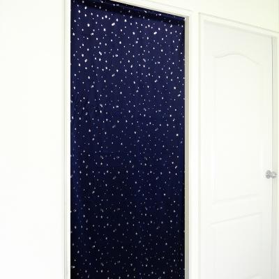 布安於室-銀色星空遮光長門簾-深藍-寬130x高220cm