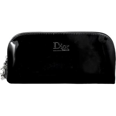 Dior-迪奧-幸運星LOGO墜飾漆皮筆袋化妝包-黑
